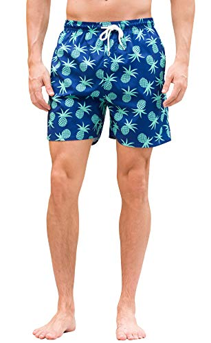 Janmid Mens Slim Fit Quick Dry Swim Shorts Swim Trunks Mens Bathing Suits with Mesh Lining GreenPineapple ()