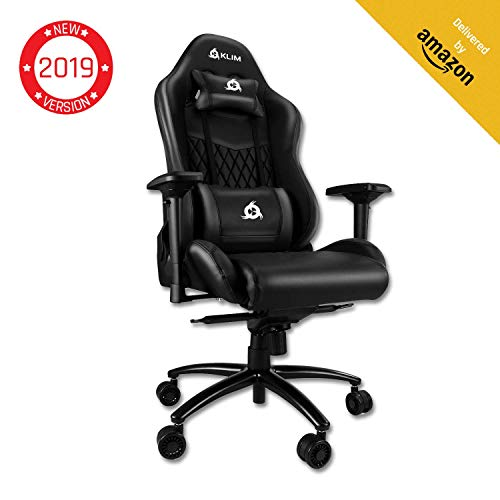 ⭐️KLIM Esports Gaming Chair Executive Ergonomic Racing Computer Chair - Back & Head Support - New - Adjustable Armrest - Desk & Office Recliner - Silla Gamer - Black Cushion KLIM
