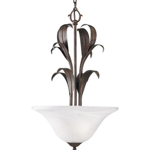 Progress Lighting P3591-33 Two-Light Foyer Fixture with Scroll Details and Etched Alabaster Style Glass, (Cobblestone Two Light Pendant)
