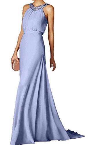 Schleppe Chiffon Festkleid Modern Lila Steine Rueckenfrei Abendkleid Promkleid Damen Ivydressing Partykleid qwFX1tn1