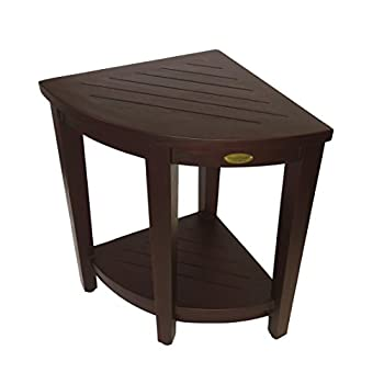 Image of Bath & Shower Aids Decoteak Oasis LiftAide Extended Height (23 inch) Solid Teak Indoor Outdoor Corner Shower Bench with Shelf - Safety Seating Product for Shower and Bath