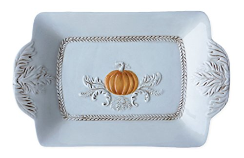 Ivory Ceramic Pumpkin Image Serving Platter
