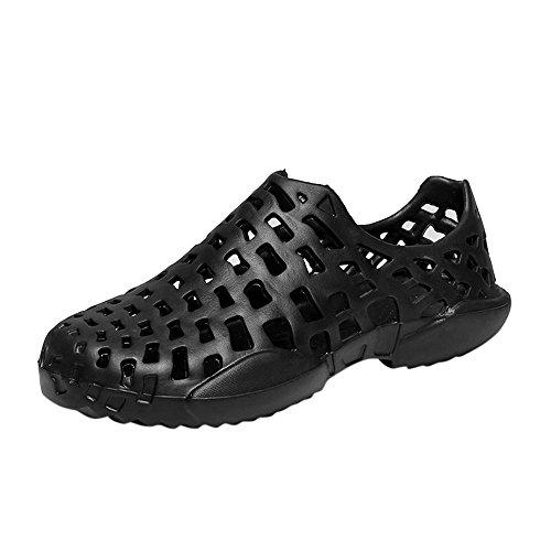 VonVonCo Men Shoes Unisex Hollow Out Casual Couple Beach Sandal Flip Flops Shoes Black by VonVonCo (Image #4)