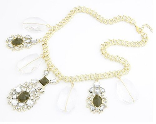 UPC 503784462724, Fashion Chunky Gold Plated Resin Crystal Gem Drop Pendant Choker Necklace(WP-H100)