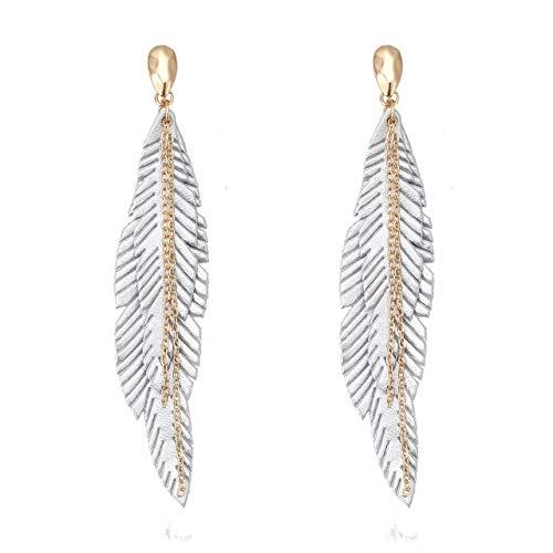 - NVENF Feather Tassel Dangle Earrings for Women Bohemian Faux Leather Plume Gold-Tone Metal Chain Fringe Statement Drop Earrings Vintage Ethnic Style Jewelry (Silver)