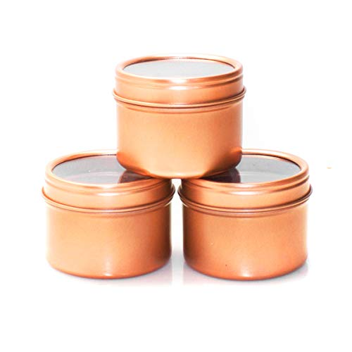 (Mimi Pack 2 oz Deep Window Metal Tins Container Slip Top Lid for Salves, Favors, Spices, Balms, Candles, Gifts Limited Run Series 24 Pack (Rose Gold))