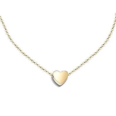 88d79dcd495d1 Amazon.com: YUMILY Womens Charm Mini Heart Pendant Necklace 18 ...