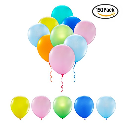 Large Latex Balloons (Latex Balloon 12 Inch 150Pcs Party Balloon Assorted Colors with A Big Pump (10 Color x 15, Random,150PCS) …)