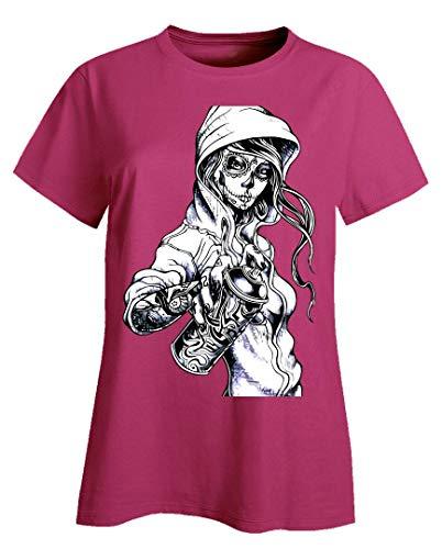 Peaceful Spirits - Graffiti Tag Skeleton Ghetto Girl - Ladies T-Shirt