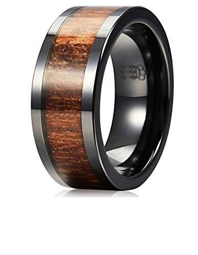Three Keys Jewelry 8mm Black Ceramic Wedding Ring with Real Koa Wood Inlay Flat Top Wedding Band Engagement Ring Comfort Fit Size 10