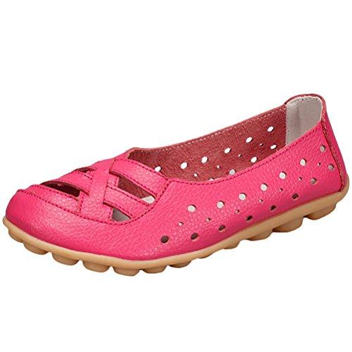 Vogstyle Mujeres Nuevo Cuero Sandalias de Tacón Bajo Zapatos Casual ZY005 Style 2-Rose Red