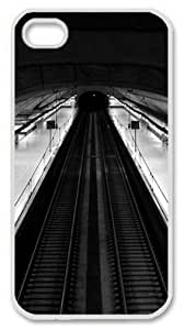 Iphone 4 4s PC Hard Shell Case Madrid Subway Black And White Top View White Skin by Sallylotus