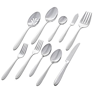 Stone & Beam Traditional Stainless Steel Flatware Set Silverware, Service for 8, 45-Piece, Silver with Round Trim (B07BDT9WR9) | Amazon price tracker / tracking, Amazon price history charts, Amazon price watches, Amazon price drop alerts