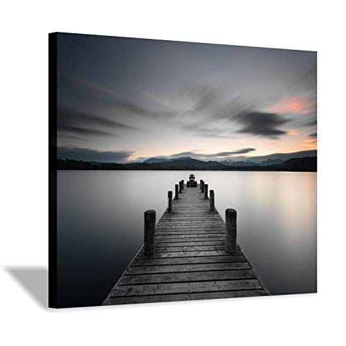 Lake Pier Canvas Wall Art: Vintage Wooden Dock Artwork Painting for Living Room(24''x18'')