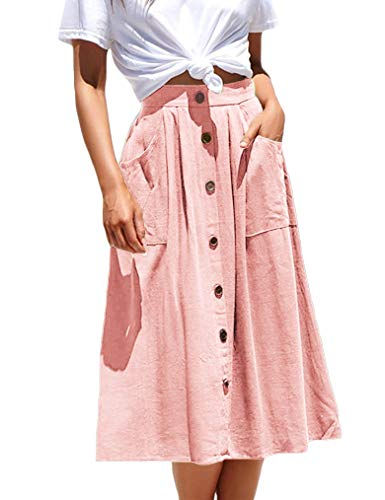 Naggoo Women's Swing Below The Knee Elastic Waist Midi Skirt with Buttons Pink XL ()