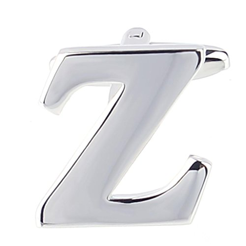 MoAndy Mens Wedding Shirts Initial Cufflinks Alphabet Letter Z Color Silver (Price For 1 Pc)