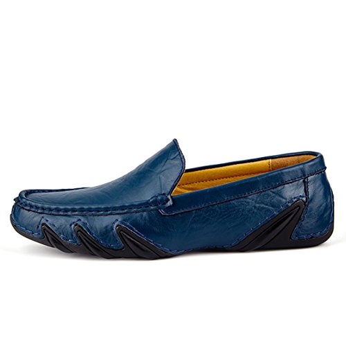 Go Tour Mens Driving Shoes Premium Genuine Leather Fashion Slipper Casual Slip On Loafers Shoes Blue 0hvtr
