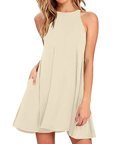 Sarin Mathews Women's Halter Neck Sleeveless Casual Swing T-Shirt Loose Dress Beige S