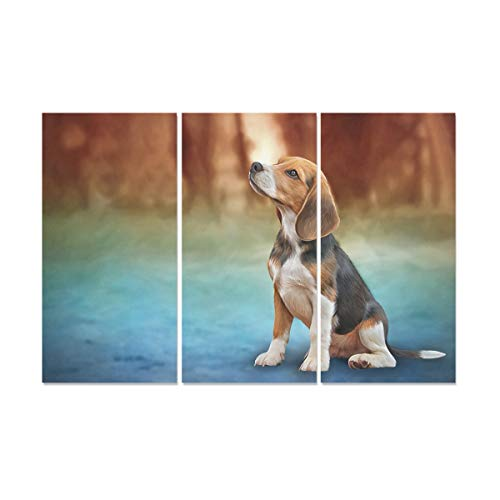 YUMOING 3 Panel Canvas Wall Art Drawing Illustration Dog Beagle Portrait Oil Wall Art Canvas Prints Wall Decor for Home Living Room Bedroom Bathroom Wall Decor Posters 15
