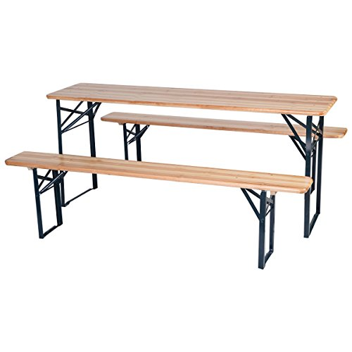 3 PCS Beer Table Bench Set Folding Wooden Top Picnic Table Patio Garden