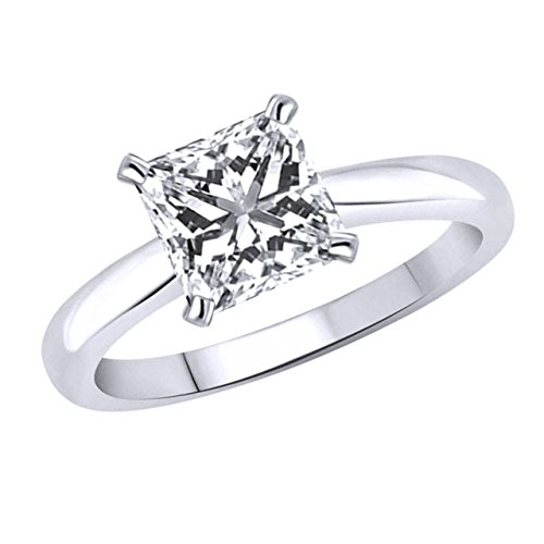 - omegajewellery 2.20 Carat Square Princess Cut Solitaire Engagement Ring Solid 10K Gold (white-gold)