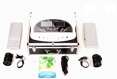 Oileus Dual User Ionic Detox Foot Bath Spa Machine Multi-Mode System Cell Cleanse System with Travel Suitcase Far Infrared Belts & Colored LCD