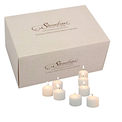 Stonebriar Set of 72 White Unscented Long Burning Votive Candles, Candle Accessories for Birthdays, Weddings, Spas, or Everyday Home Decor, Bulk - Briar Stone