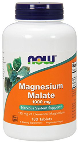 NOW Magnesium Malate 1000mg, 180 Tablets (Pack of 2) Magnesium Malate 180 Tablets