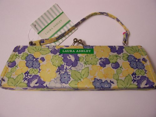 Laura Ashley Fashion Carry-all Clutch with Handle ~ Pencil Pouch with Style (Yellow, Green, Blue Flowers)