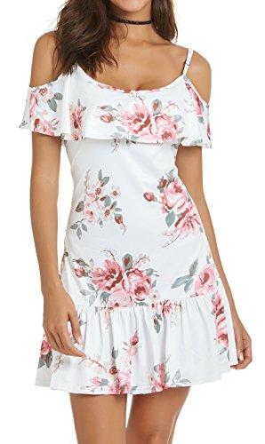Am Vêtements Taille Plus Été Mini-robes Pour Femmes Épaule Froid Sangle Spaghetti Floral Blanc Plage