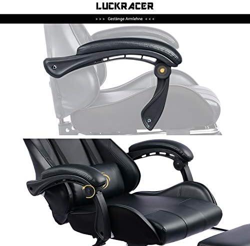 LUCKRACER Silla Gaming Escritorio con Reposapiés Oficina Cojín Lumbar para Masaje Reposabrazos de Carreras Respaldo Alto de Cuero PU 22