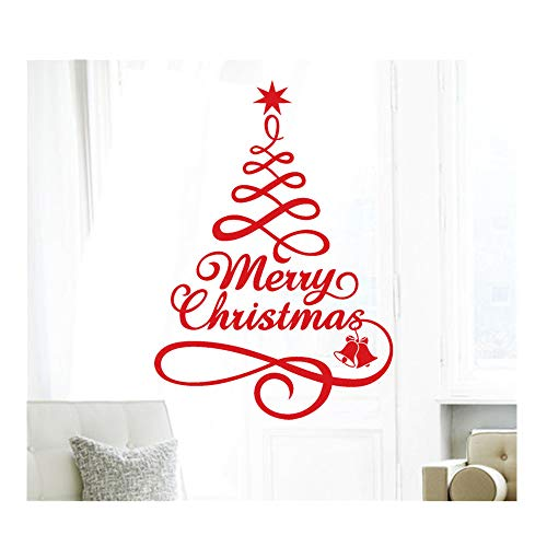 Christmas Tree Series Window Decal,Christmas Vinyl Wall Sticker Window Decal Decoration Home Decorations Gifts,For Walls, Doors,Closets, Plastic, Tiles, Fridges (Red)