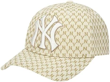TWICE 투 이즈 착용 모델 MLB Korea NY Yankees NewYork 뉴욕 양키스 야구 모자 모노 그램 베이지색 cap hat 모자 [병행 수입 / TWICE Tuweis Wearing Model MLB Korea NY NewYork Yankees New York Yankees Monogram Baseball Cap Beige Cap Hat Ha...