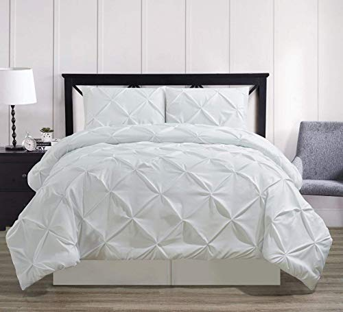 Oxford Comforter Set - Royal Hotel Oxford Decorative Pinch Pleat Comforter Set, 4 Pieces, Hypoallergenic Comforter, Down Alternative Fill, King, White
