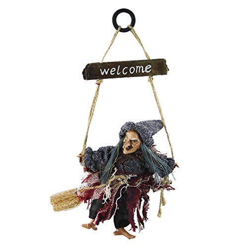 Hanging Animated Witch on Broomstick Halloween Decoration Dolls Pendant Haunted House Decorate Props KTV Bar Restaurant Door Indoor Outdoor Decor Hanged Wizard Welcome Figure -
