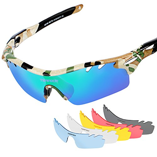 Tsafrer Polarized Sports Sunglasses with 6 Interchangeable Lenses for Cycling Driving Running - With Interchangeable Lenses Sunglasses