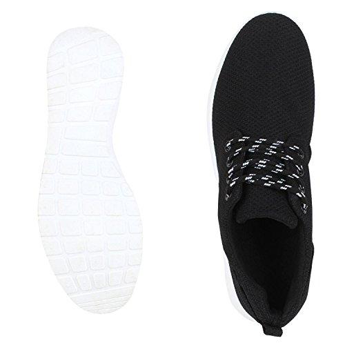napoli-fashion Flache Unisex Damen Herren Laufschuhe Profilsohle Sportschuhe Schnüren Sneakers Freizeitschuhe VanHill All Black White