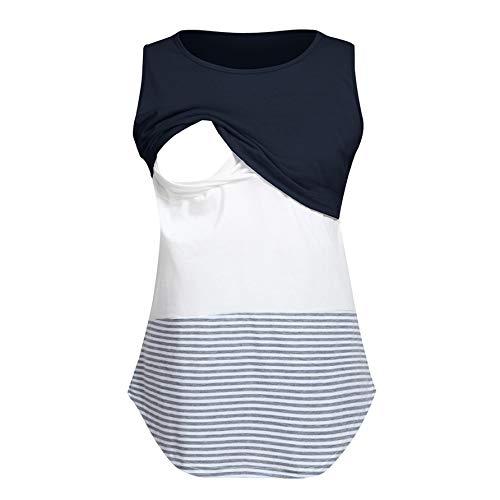 TIFENNY Breastfeeding Tops for Women Mom Pregnant Nursing Baby Maternity Sleeveless Striped Blouse Clothes Shirts Navy