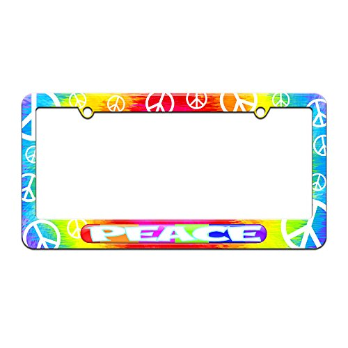 - Peace - Colorful Rainbow Blocks - License Plate Tag Frame - Tie Dye Peace Signs Design