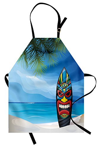 Ambesonne Tiki Bar Apron, Tiki Warrior Mask Design Surfboard on Ocean Beach Abstract Landscape Surf Print, Unisex Kitchen Bib Apron with Adjustable Neck for Cooking Baking Gardening, -