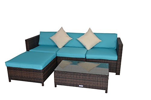 Rattan Wicker Outdoor Sectional Couch Sofa Set Garden Lawn Patio Furniture 5PCS Brown Set Jetime