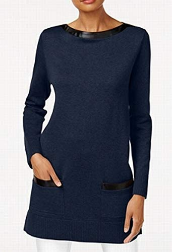 Leather Trim Sweater - Jeanne Pierre Womens Faux Leather Trim Long Sleeves Tunic Sweater Navy XL