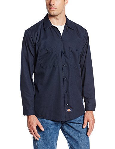 Dickies Occupational Workwear LL535NV L Polyester/ Cotton Men's Long Sleeve Industrial Work Shirt, Large, Navy Blue