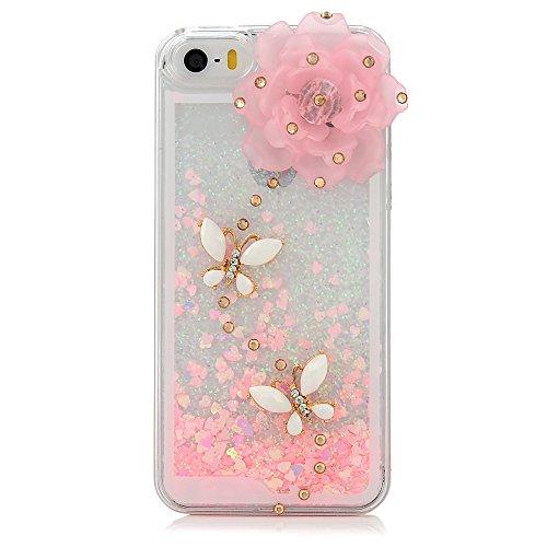 Mavis's Diary Coque iPhone 5 Coque PC Rigide Dure Sables Mouvants Fleur et Papillons Strass Phone Case Cover Coque de Protection avec Chiffron Nettoyeuse