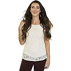 Mikarose Lace Modest Top In Cream -
