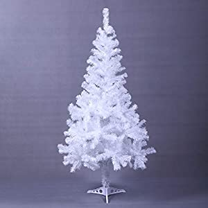 Tobbi 5' Tall White Artificial PVC Christmas Tree Solid/Metal Stand Xmas Christmas Holiday Decoration Indoor Outdoor 46