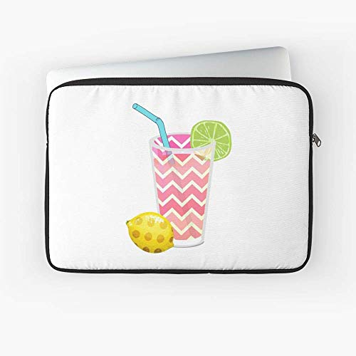 Cute Pink Chevron Lemonade with Lime Slice Laptop Sleeve - 13 Inch - 15 Inch - The Best Gift for Family and Friends.
