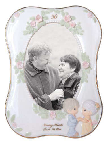 Precious Moments 50th Anniversary Porcelain Frame, with 3-3/4 by 5-1/2-Inch Opening