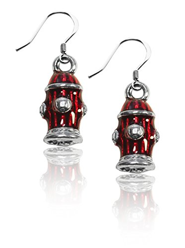Whimsical Gifts Dog Charm Earrings (Fire Hydrant, Silver)