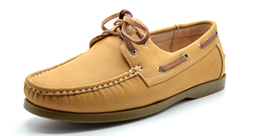 Bruno Marc MODA ITALY SUNSEEKER-2 Men's Casual Loafers Two-Eye Contrasting Leather Lace Up Classic Driving Boat shoes,2-TAN,8 D(M) US